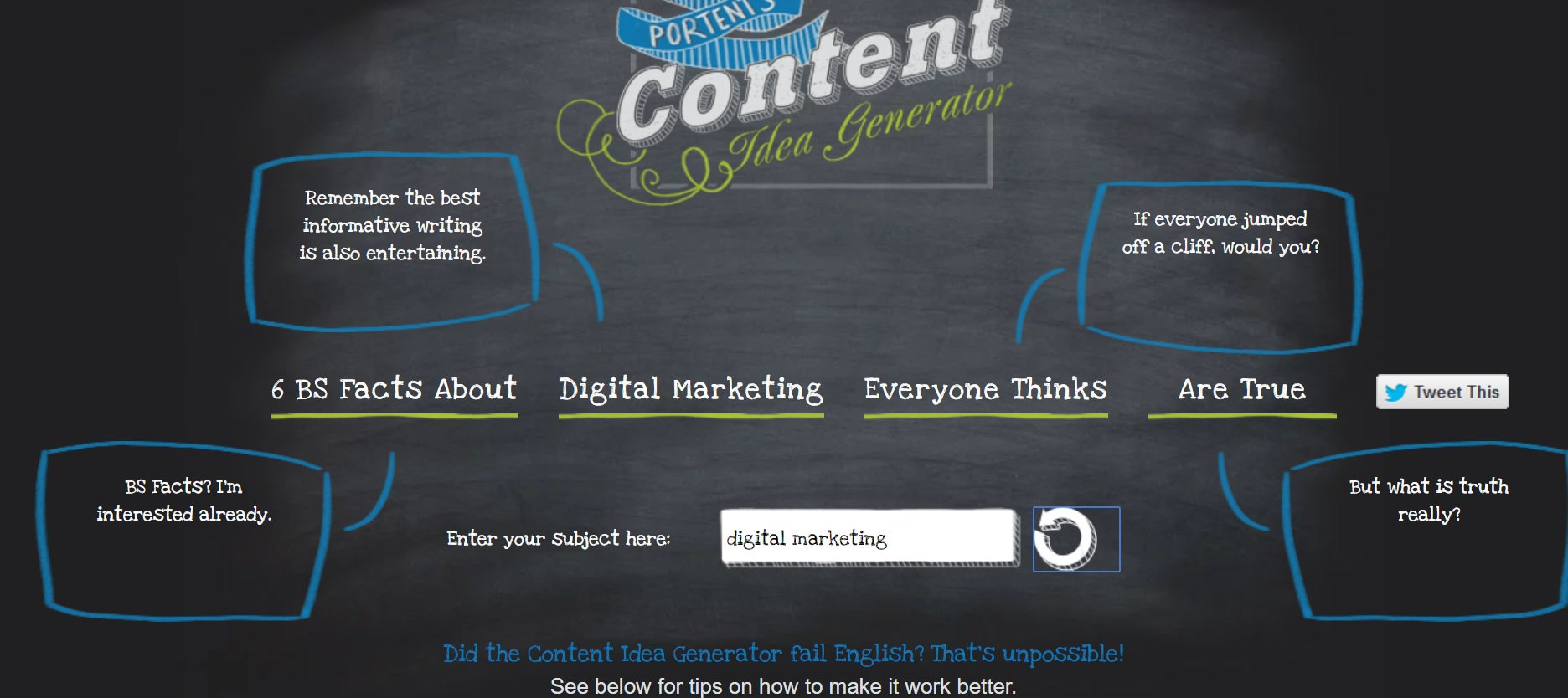 6 life saving tools to help you generate more blog titles for Portent not working